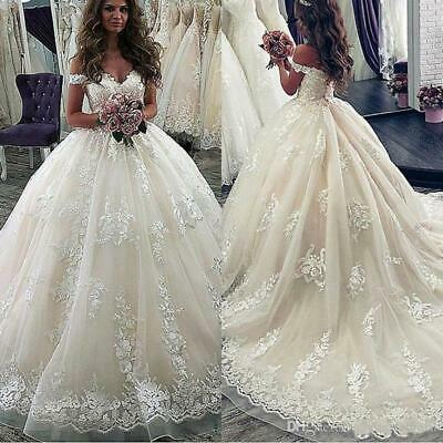 Bride Ball Gown Wedding Dresses Lace Appliques Off Shoulder Train Bridal Gowns