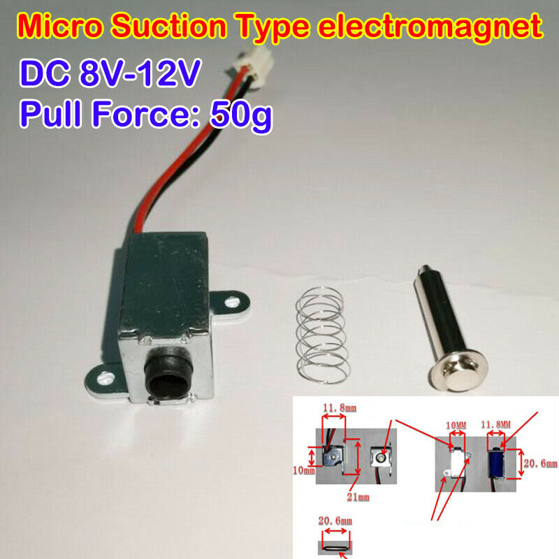 DC 8V-12V Micro Pull Type Rod Electromagnet Stroke 6mm Small Solenoid Magnets