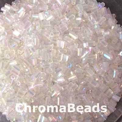 50g glass HEX seed beads - Clear Rainbow - size 11/0 (approx 2mm) 2-cut