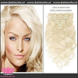 100% HUMAN HAIR/ Blonde body wave CLIP IN hair extensions, 7 pcs Yellowknife Northwest Territories image 7