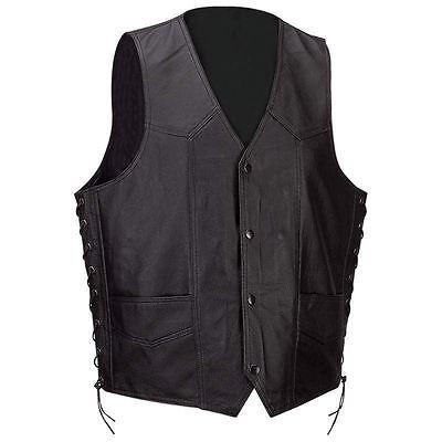 Mens Black Buffalo Solid Leather Classic Motorcycle Vest + Lacing MC Biker Club