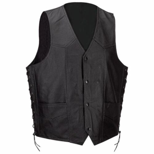 SOLID LEATHER VEST Mens Black Buffalo Classic Motorcycle Lac