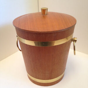 Teak And Brass? Metal Lined Ice Bucket