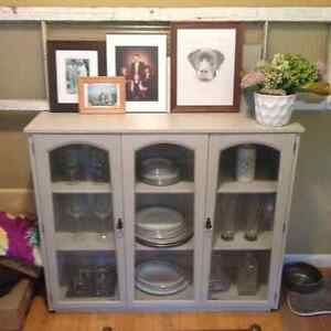 Side board/display case - chalk paint grey $75