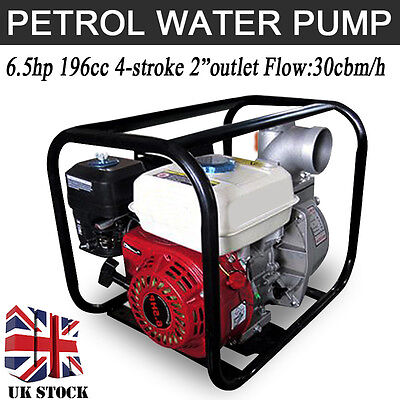 "6.5HP 2"" 163cc 4-stroke 30L/H Petrol Engine Water Transfer Pump Home Garden"
