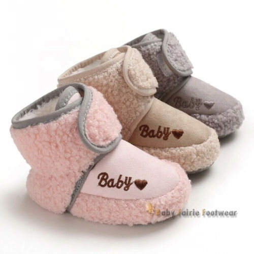 Sherpa Boots Soft Infant Winter Baby Shoes With Wool Sizes 0-18 Months