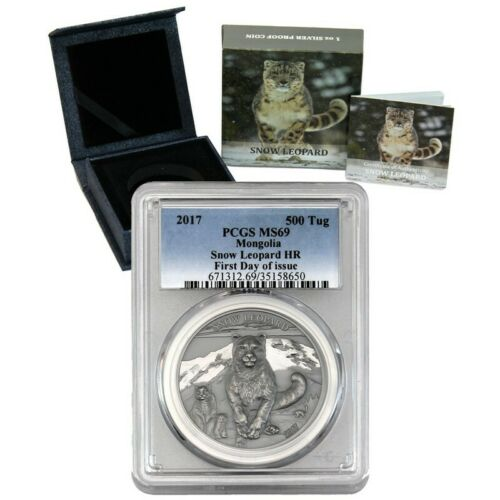 2017 500 Togrog Mongolia Snow Leopard 1oz. HR Silver Coin PCGS MS69 First Day