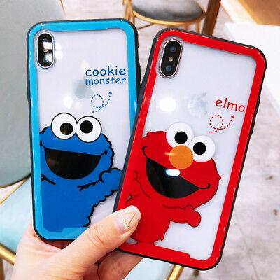 Sesame Street Cookie Monster Elmo Transparent Glass Phone Case For iPhone Xs Max Sesame Street Sheer
