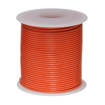 24 Awg Gauge Stranded Hook Up Wire Orange 100 Ft 0.0201 Ptfe 600 Volts