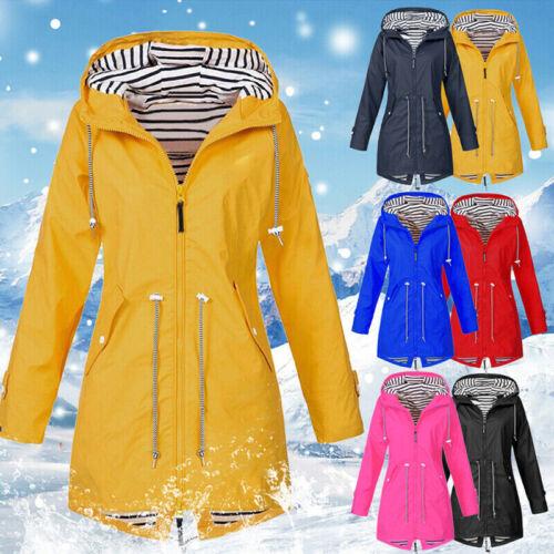 Damen Kapuze Regenmantel Windbreaker Lange Jacke beiläufig Parka warm Jacken