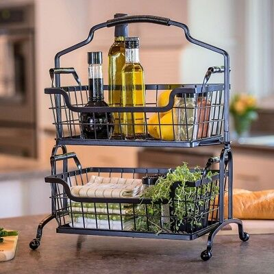 Two-Tier Brushed Wrought-Iron Basket With Arched Handle 862952 GM016045R
