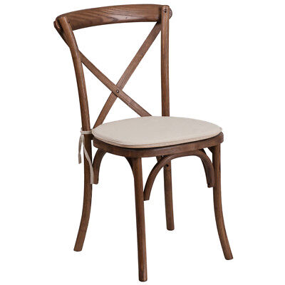 Bistro Style Cross Back Pecan Wood Stackable Restaurant Chair Wseat Cushion