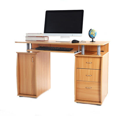 Home Department Computer Desk Laptop PC Study Table With 3 Drawers Furniture Wooden
