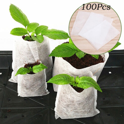 Nursery Seedling Pots 100pcs Garden Plant Rising Fiber Bag Garden Nursery Supply