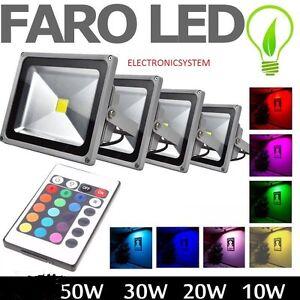 Faro fari faretti a led rgb con telecomando 10w 20w 30w for Faretti a led da esterno