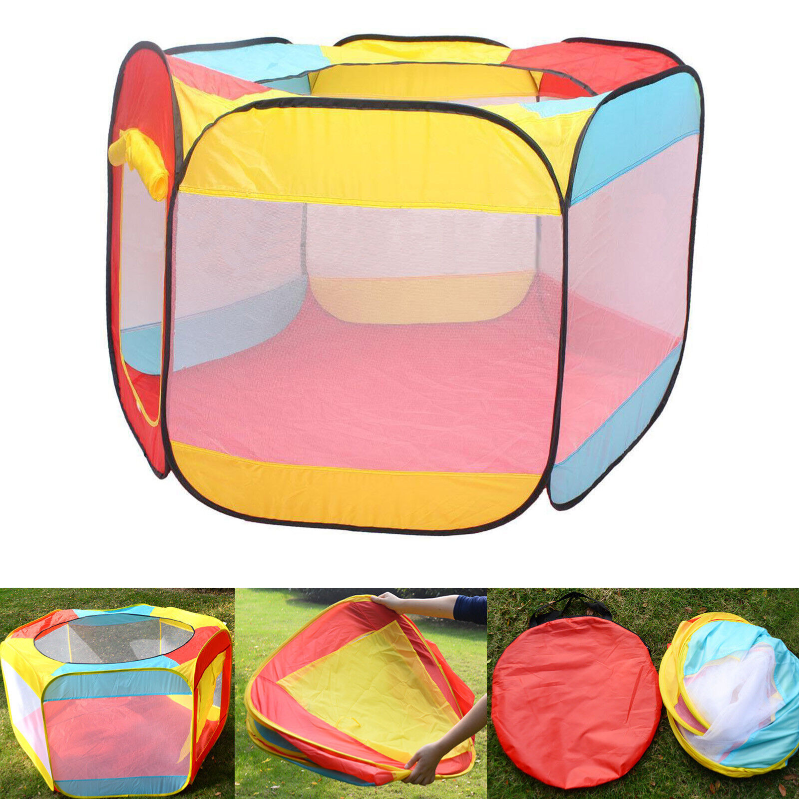 Folding Portable Playpen Baby Play Yard With Travel Bag Indoor Outdoor Safety - $17.95