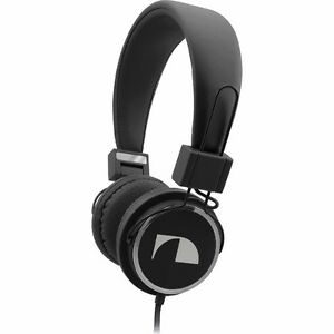 Nakamichi Folding Headphones with flat wire and mic New Black