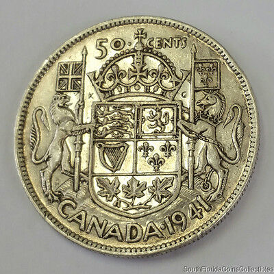 1941 Canada .50 Fifty Cent .800 Silver Coin