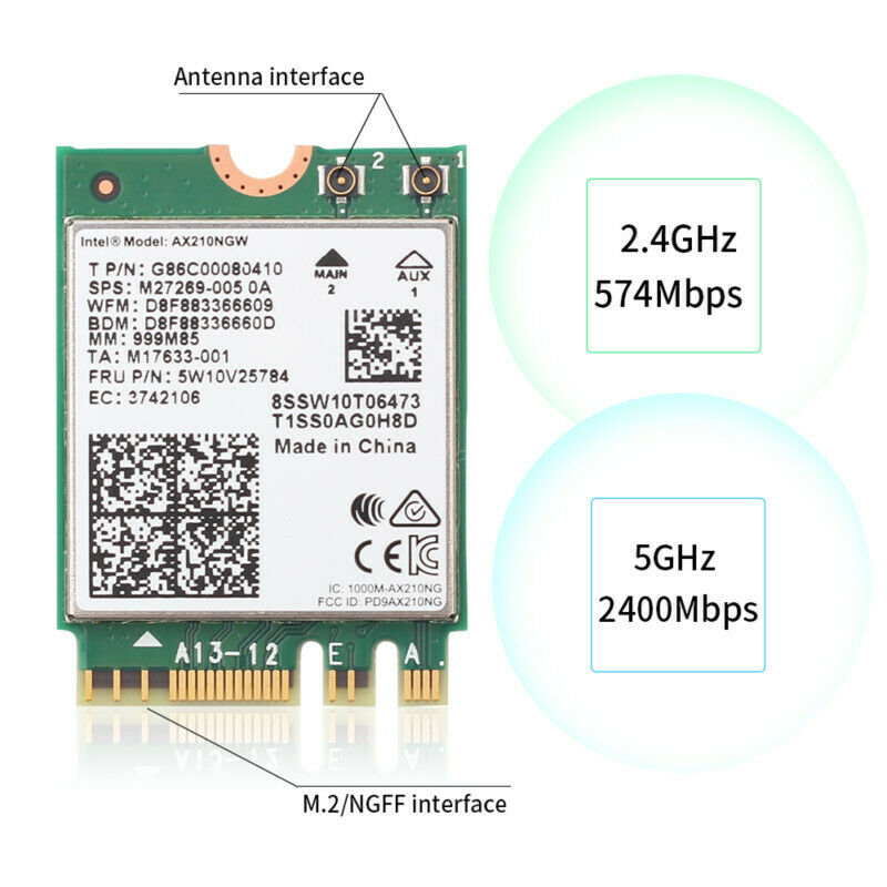 3000Mbps WiFi 6E Intel AX210 Bluetooth 5.2 M.2 2230 Key E WiFi 6 Card 2.4G//5Ghz//6Ghz With IPEX4 Antennas Wireless AX210NGW 802.11ac//ax WiFi Adapter Support Windows 10 Linux For Laptop Desktop PC