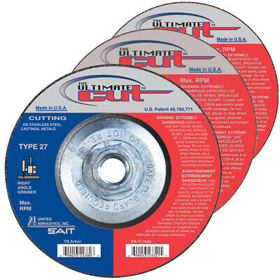 10-Pack 5-Inch by 0.045-Inch by 5//8-11-Inch United Abrasives-SAIT 23307 Cutting Wheel Type 27 A46N