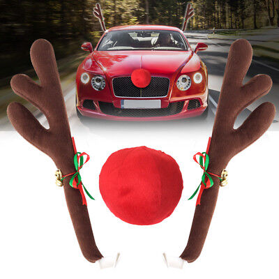 Rudolph Car Costume Christmas Reindeer Antlers & Red Nose for Truck SUV Decor](Car Reindeer Antlers)