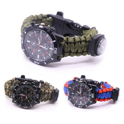 Outdoor Paracord Survival Watch Bracelet With Flint Fire Starter Compass RF - Paracord Compass