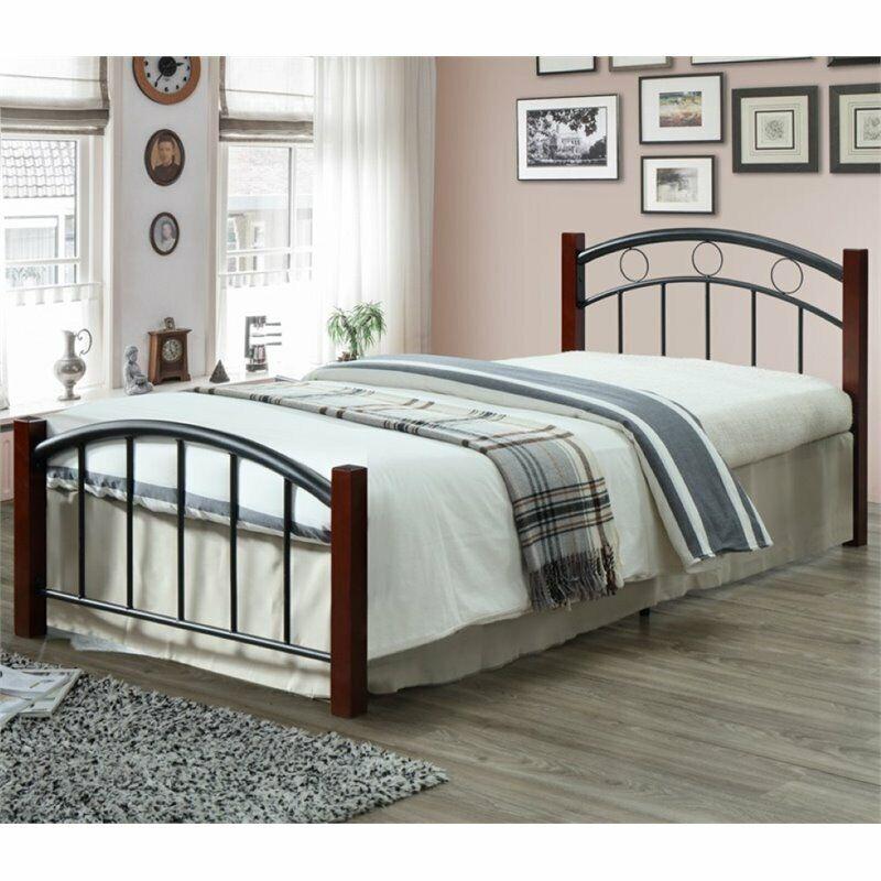 Hodedah Complete Metal Platform Bed with Headboard Footboard Twin Size in Black