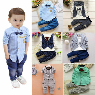 Suit Outfits (1 set Baby clothes kids boys wedding party suit top+pants tuxedo outfits)