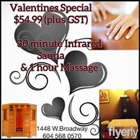 $55 for a 1 hour massage & 30 min. infrared steam