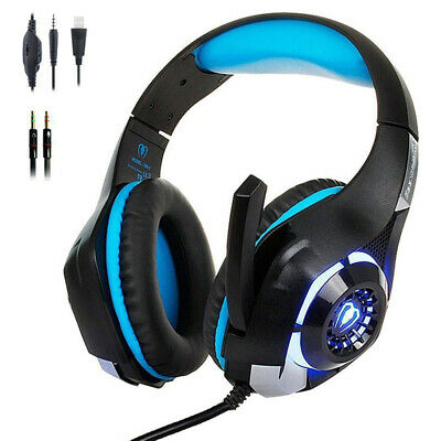 Pro Gaming Headset With Mic Wired XBOX One Pc PS4 Headphones Microphone LED (Best Pc Headphones With Mic)