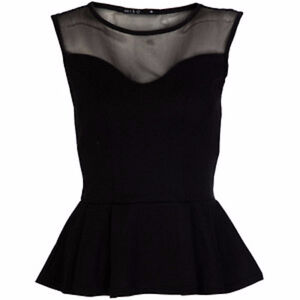 **BRAND NEW** Black Faux Leather/Mesh Combo Peplum Top Kitchener / Waterloo Kitchener Area image 1