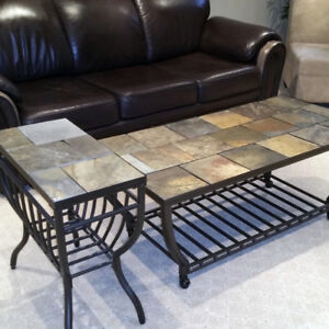 Set of 3 Natural Slate Coffee Tables
