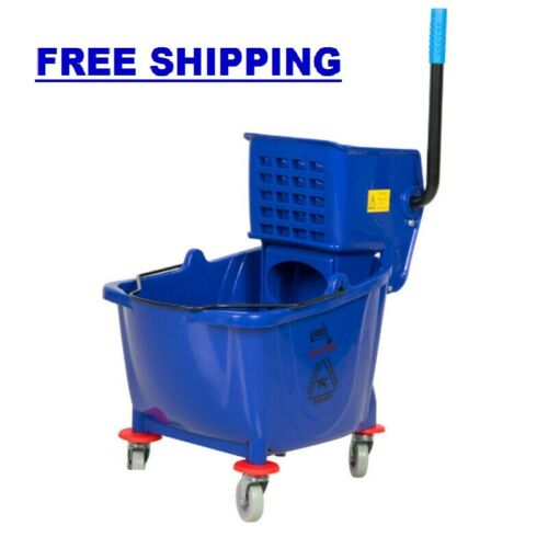 Commercial Janitor Mop Bucket 36 Qt. and Wringer Professional Cleaner Blue