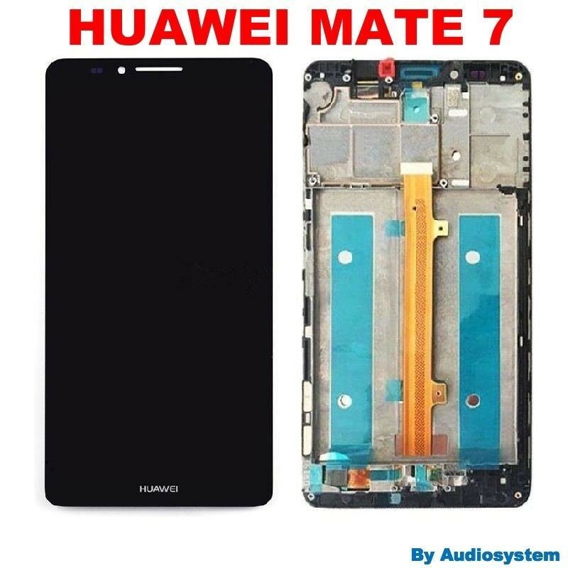 GLS DISPLAY+TOUCH SCREEN +FRAME COVER PER HUAWEI MATE 7 MT7-TL10 NERO VETRO LCD