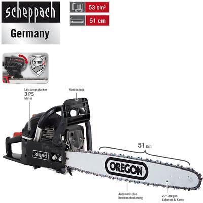 Scheppach Benzin Kettensäge 3 PS Motorsäge 51cm mit Oregon-Schwert CSP5300