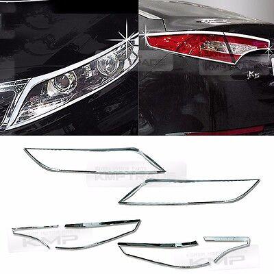 Chrome Head Lamp Rear Tail Light Lamp Molding 6Pcs For KIA 2011-2013 Optima K5