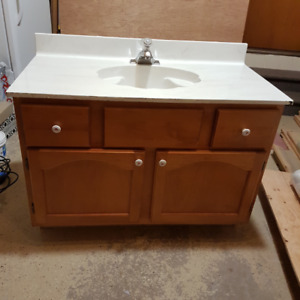 """""""FREE"""" Bathroom vanity with top, sink, and faucet"""