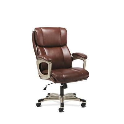 Sadie Executive Computer Chair With Fixed Arms In Brown Leather