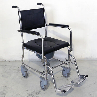 (Stainless Steel Commode Wheelchair Bedside Commode Shower Toilet with Seat Patch)
