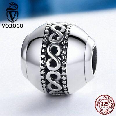 (Voroco Endless Love 925 Sterling Silver Bead Charm Fit Enchanting Lady Bracelet)