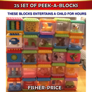 FISHER-PRICE 25 PIECE SET OF PEEK-A-BLOCKS - PRISTINE CONDITION