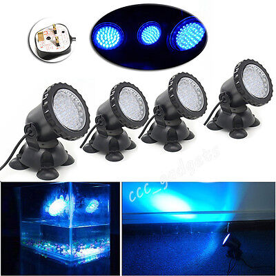 4x Blue 36 LED Underwater Spot lights Lamp Water Aquarium Tank Garden Pond Pool