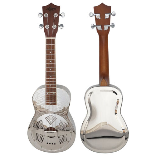 Aiersi Brand Sandblasted Gloss Chrome Finish Brass Concert  Resonator ukulele