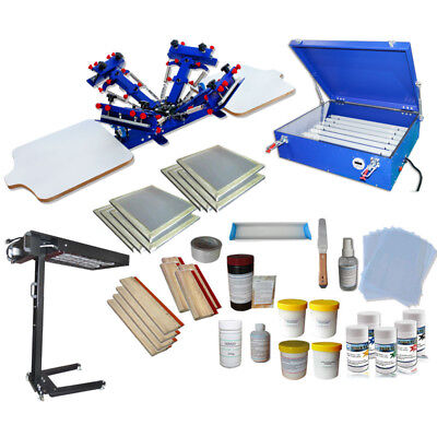 4 Color 2 Station Screen Printing Kit Flash Dryer Exposure Unit Ink Squeeggee