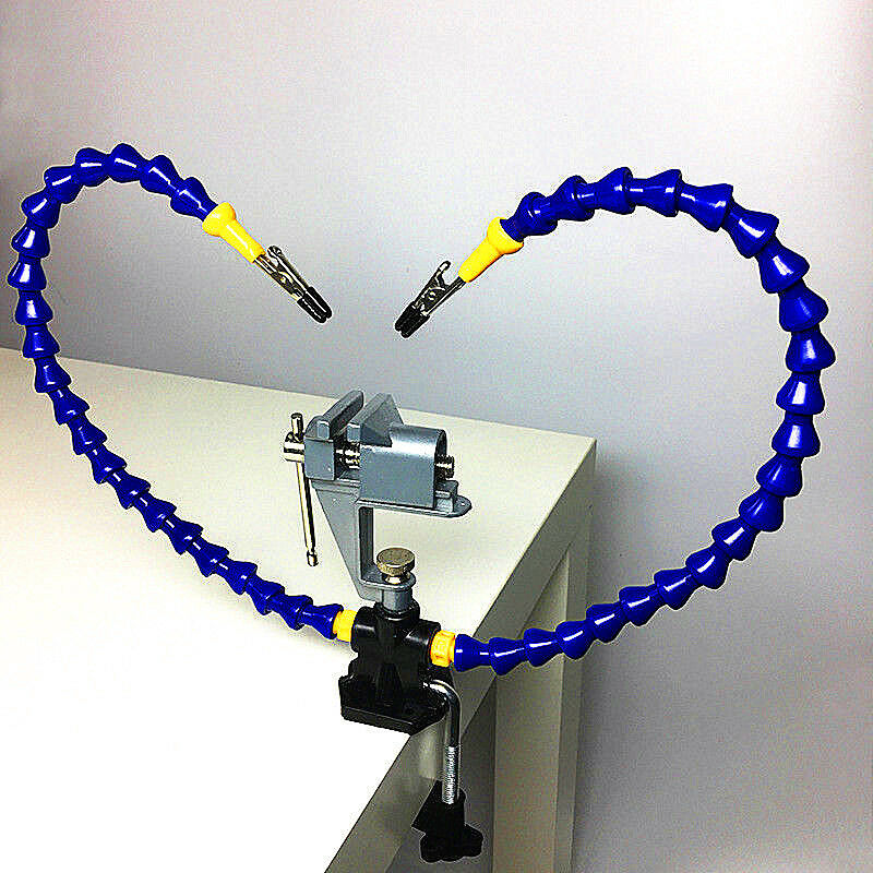 Flexible Arm Two Hand Soldering Iron Holder Stand Helping Clamp Vise Clip Tool