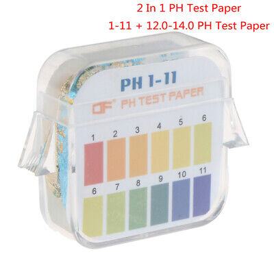 2 In 1 Universal Indicator Paper 1-11 12.0-14.0ph Tester Paper Lab Water Test Jh