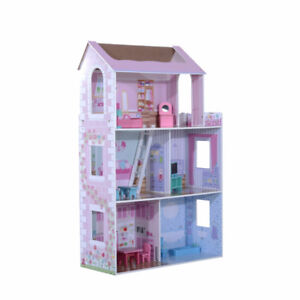 Wooden Toy Dollhouse / Barbie Doll House Cottage with Furniture