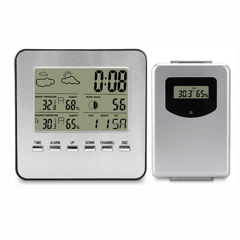 Funk Wetterstation mit Außensensor Digitale Thermometer Innen Außen Hygrometer
