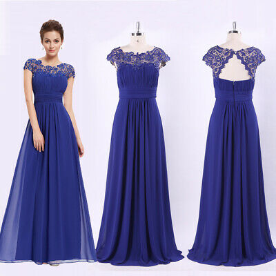 Ever-Pretty US Sapphire Blue Evening Gown Backless Mother Of Bride Dress (Sapphire Evening Gown)