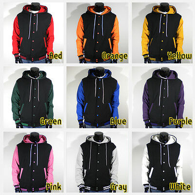 Mens Unisex New Varsity Letterman Hoodie Baseball Jacket Plain S M L XL 2XL 3XL
